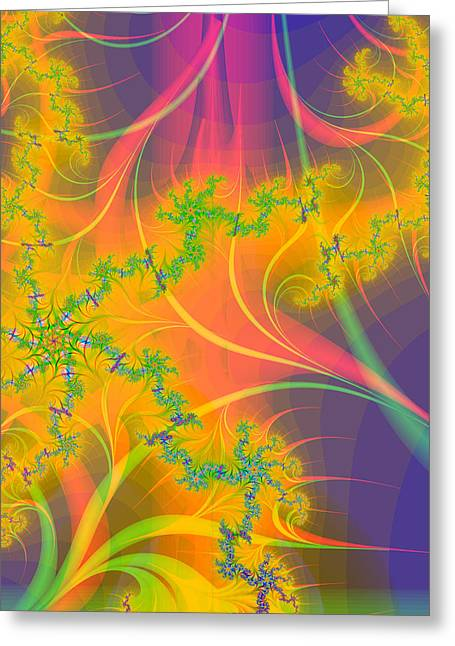 Pinks And Purple Petals Greeting Cards - Tropical Kiss Fractal Greeting Card by Sharon and Renee Lozen