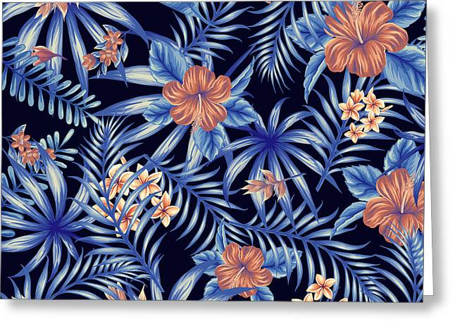 Tropical Leaf Pattern 4 Greeting Card by Stanley Wong