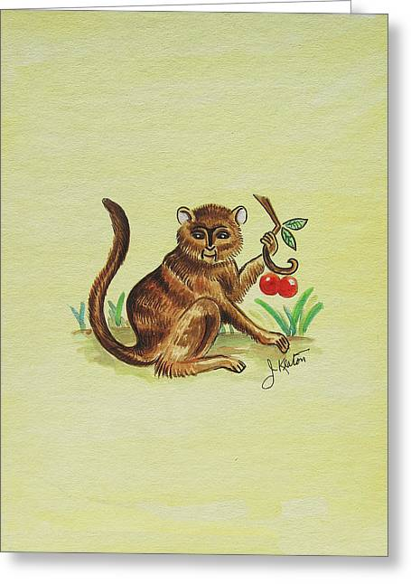 Tropical Monkey 1 Greeting Card by John Keaton