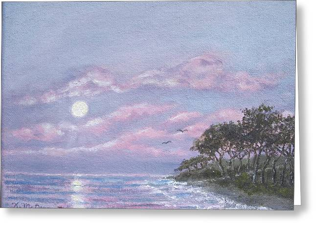 Moonrise Greeting Cards - Tropical Moonrise Greeting Card by Kathleen McDermott