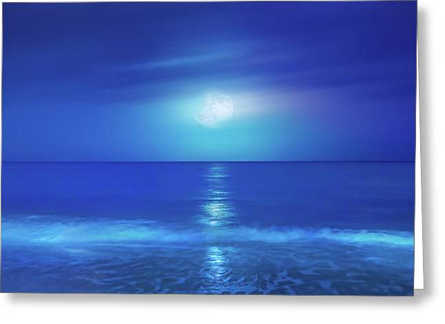 Moonrise Greeting Cards - Tropical Moonrise Greeting Card by Mark Andrew Thomas
