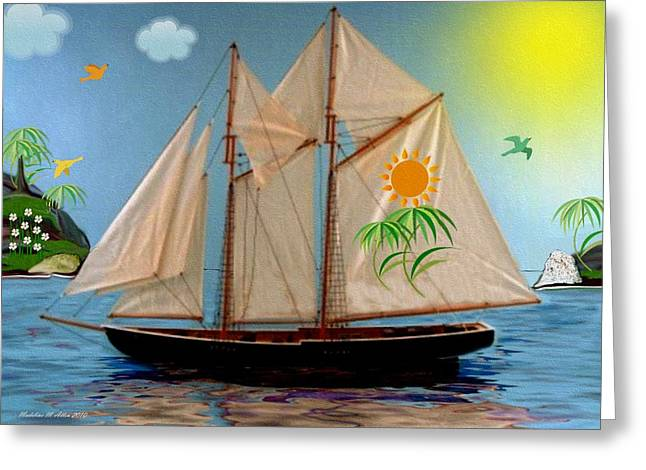 Smudgeart Greeting Cards - Tropical Paradise Greeting Card by Madeline  Allen - SmudgeArt