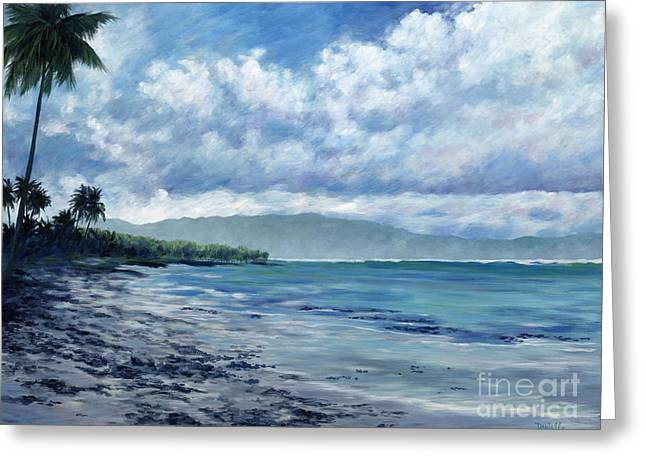 Danielle Perry Paintings Greeting Cards - Tropical Rain Greeting Card by Danielle  Perry