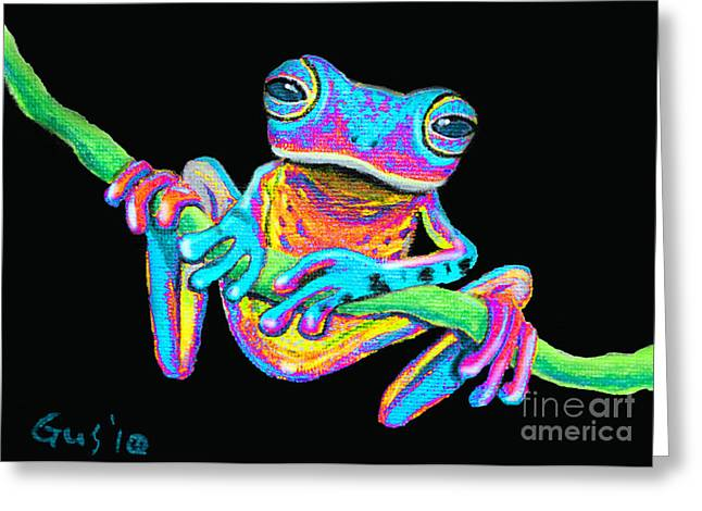 Tropical Rainbow frog on a vine Greeting Card by Nick Gustafson