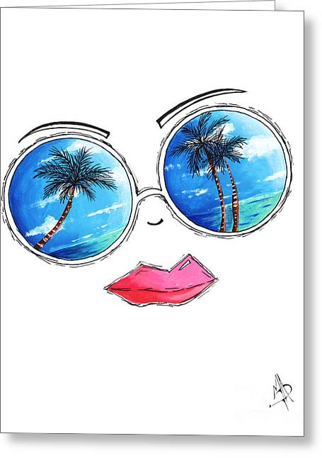 Licensor Greeting Cards - Tropical Reflection PoP Art Painting from the Aroon Melane 2015 Collection by MADART Greeting Card by Megan Duncanson
