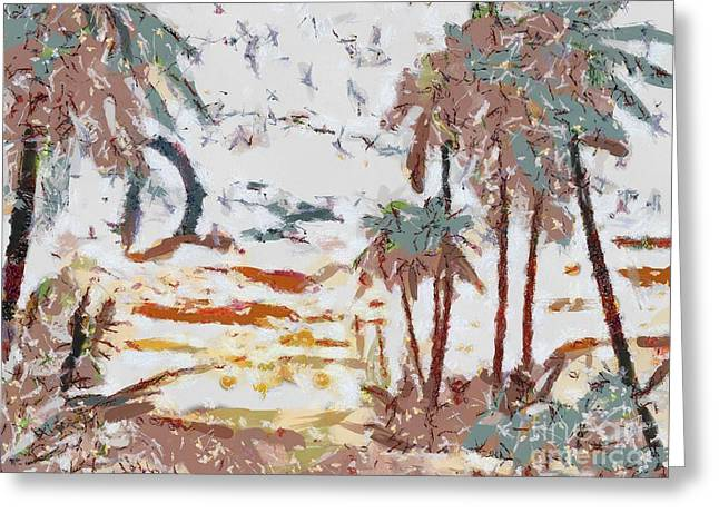 Sunset Posters Greeting Cards - Tropical Scene Fragmented Greeting Card by Catherine Lott