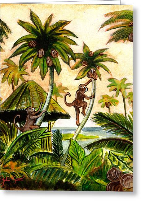 Tropical Scene Greeting Cards - Tropical Scene Greeting Card by John Keaton