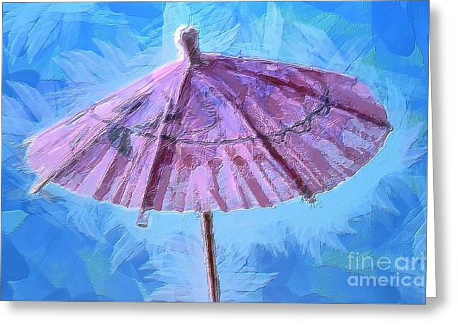 Whimsical. Greeting Cards - Tropical Shelter Greeting Card by Krissy Katsimbras