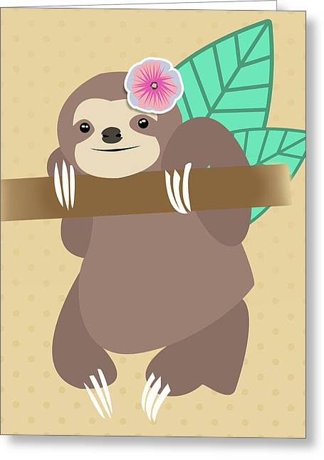 Tropical Sloth Illustration Greeting Card by Pati Photography