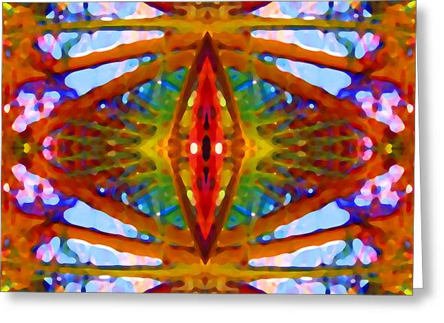 Abstract Digital Paintings Greeting Cards - Tropical Stained Glass Greeting Card by Amy Vangsgard