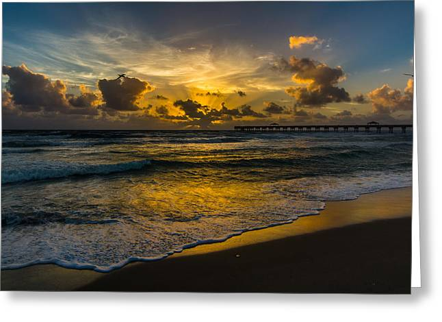 Tropical Oceans Pyrography Greeting Cards - Tropical Sunrise from Juno Beach, Florida Greeting Card by Andrew Savasuk