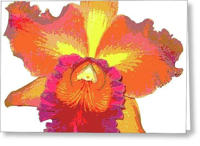 Orchids Digital Art Greeting Cards - Tropical Sunrise Orchid Greeting Card by Kerri Ligatich
