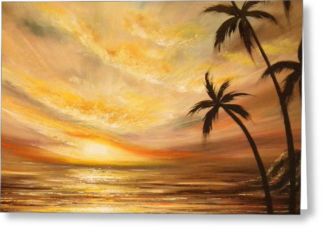 Gorna Greeting Cards - Tropical Sunset 64 Greeting Card by Gina De Gorna