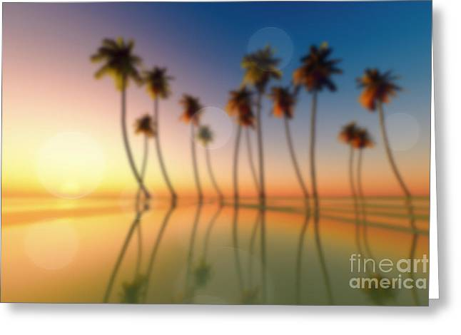 Tropical Island Mixed Media Greeting Cards - Tropical Sunset Greeting Card by Aleksey Tugolukov