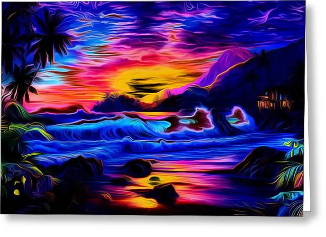 Ocean Landscape Greeting Cards - Tropical Sunset Art Greeting Card by Ron Fleishman