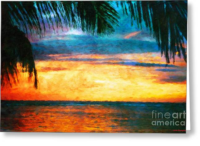 Tropical Sunset Greeting Card by Jerome Stumphauzer