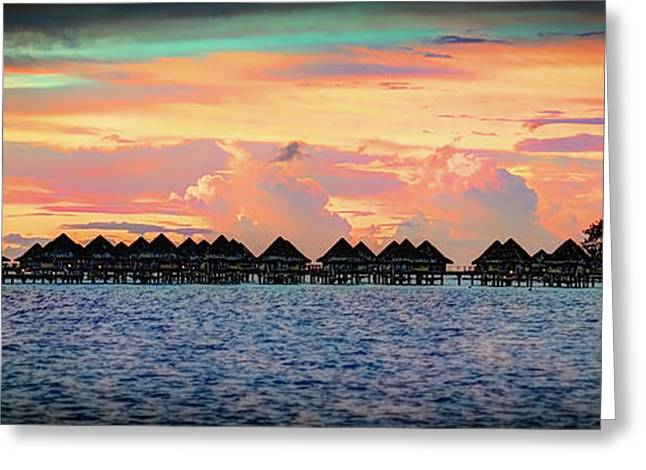 Boras Greeting Cards - Tropical Sunset on Bora Bora Greeting Card by Michelle Maria