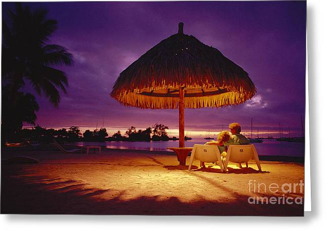 Amazing Sunset Greeting Cards - Tropical Tahitian View Greeting Card by Ron Dahlquist - Printscapes