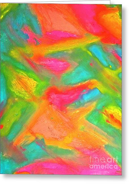 Mangos Pastels Pastels Greeting Cards - Tropical Trippy Greeting Card by Mut Magic Collaborative