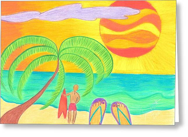 Surf Greeting Cards - Tropical Twilight Glow Greeting Card by Geree McDermott