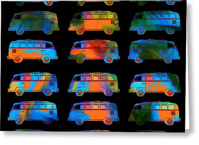 Surfing Art Greeting Cards - Tropical VW Surfer Vans Greeting Card by Edward Fielding