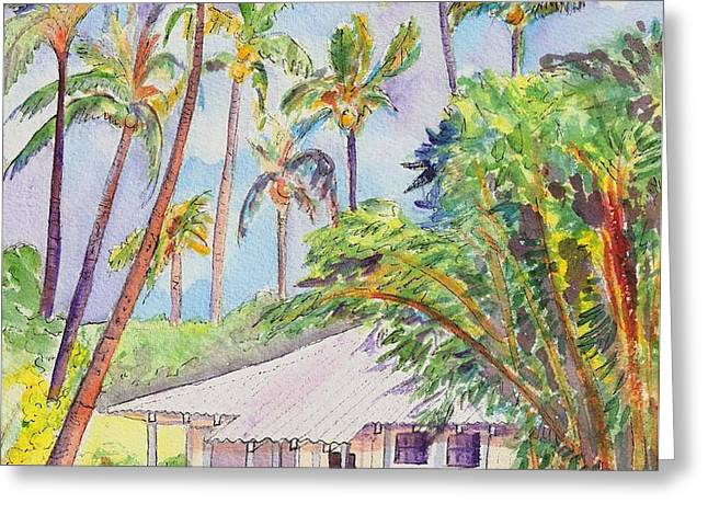 Tropical Waimea Cottage Greeting Card by Marionette Taboniar