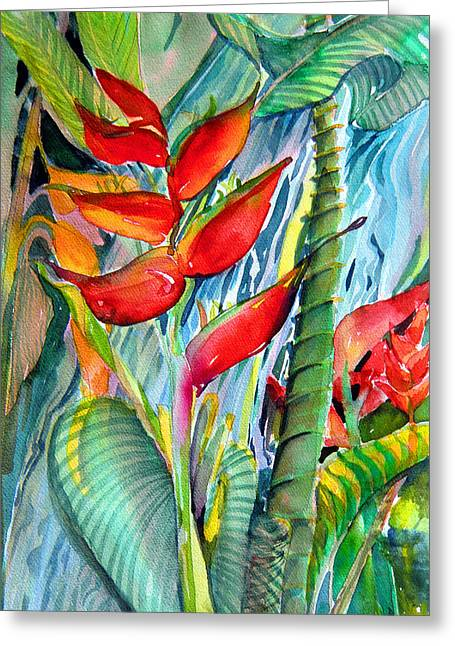 Aqua Drawings Greeting Cards - Tropical Waterfall Greeting Card by Mindy Newman