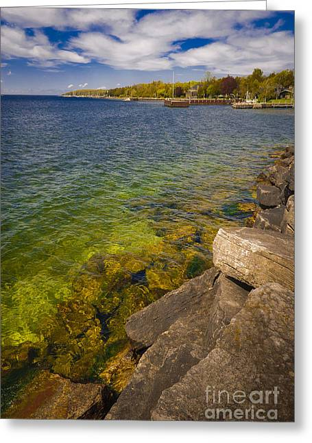 Tropical Waters Of Door County Wisconsin Greeting Card by Mark David Zahn