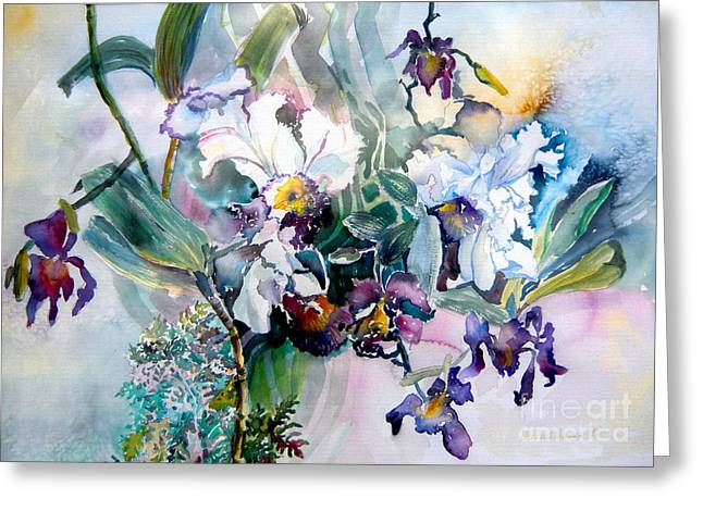 Orchids Art Greeting Cards - Tropical White Orchids Greeting Card by Mindy Newman