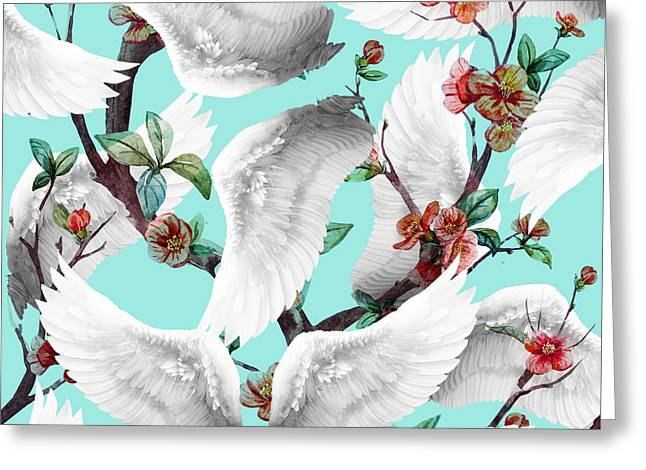 Tropical Wing Floral  Greeting Card by Mark Ashkenazi