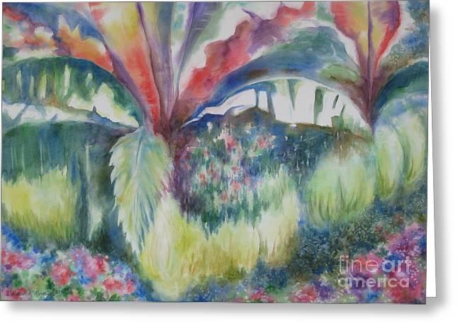 Deb Ronglien Watercolor Greeting Cards - Tropicana Greeting Card by Deborah Ronglien