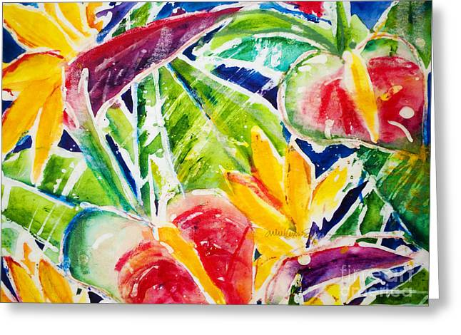Art Medium Greeting Cards - Tropics - Floral Greeting Card by Julie Kerns Schaper - Printscapes