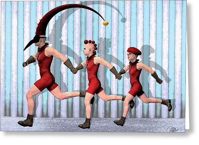 Doll Drawings Greeting Cards - Troupe By Quim Abella Greeting Card by Joaquin Abella