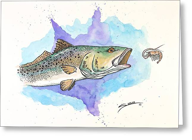Trout Mixed Media Greeting Cards - Trout #2 Greeting Card by Alex Sholar