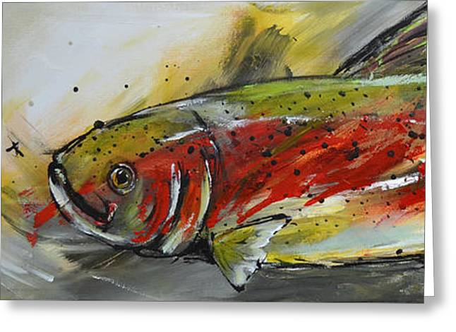 Trout Fishing Greeting Cards - Trout 2 Greeting Card by Cher Devereaux
