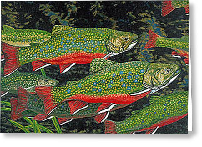 Trout Art Brook Trout Fish Artwork Giclee Wildlife Underwater Greeting Card by Baslee Troutman