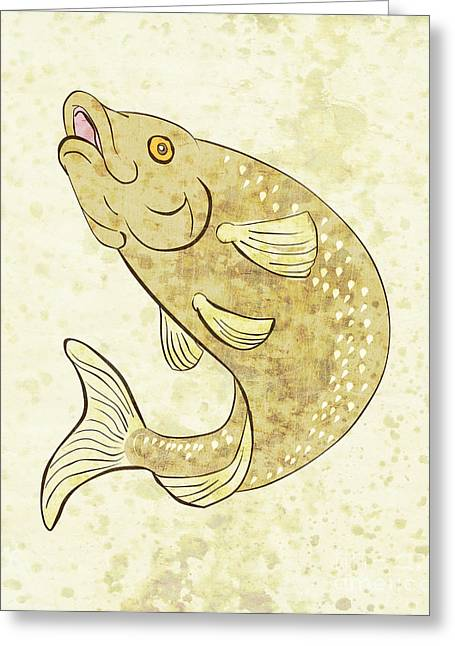 Speckled Trout Greeting Cards - Trout Fish Jumping Greeting Card by Aloysius Patrimonio
