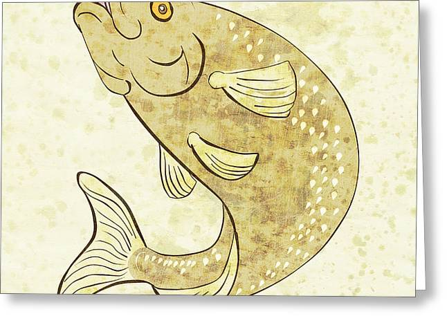 trout fish jumping Greeting Card by Aloysius Patrimonio