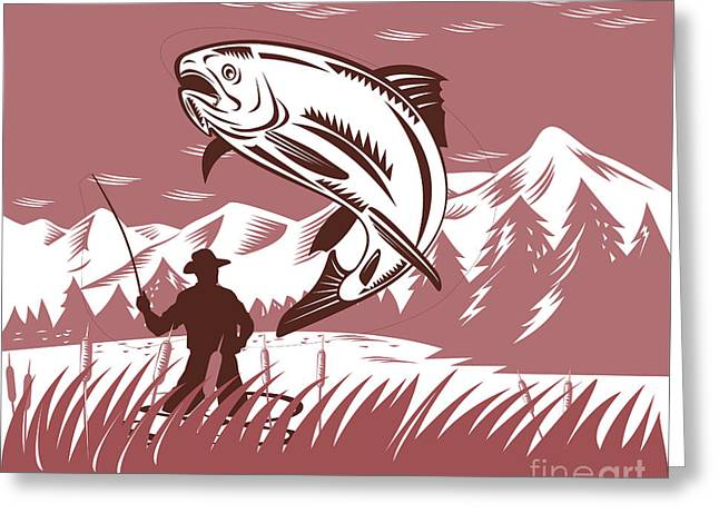 Trout Jumping Fisherman Greeting Card by Aloysius Patrimonio
