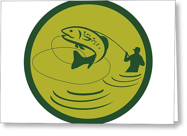 Trout Jumping Fly Fisherman Circle Retro Greeting Card by Aloysius Patrimonio