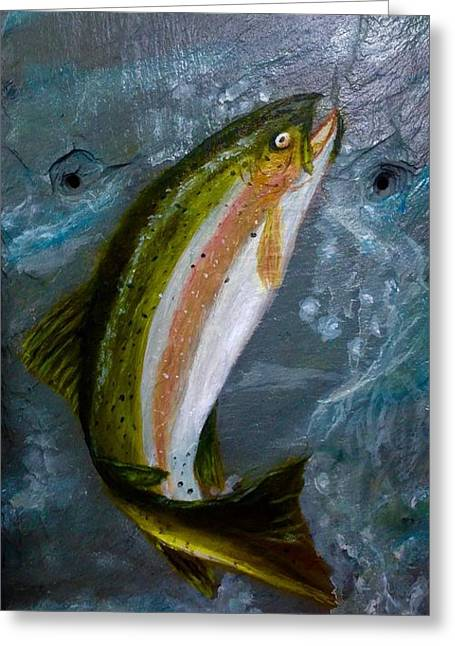 Rainbow Trout Greeting Cards - Trout on slate Greeting Card by Gino Didio