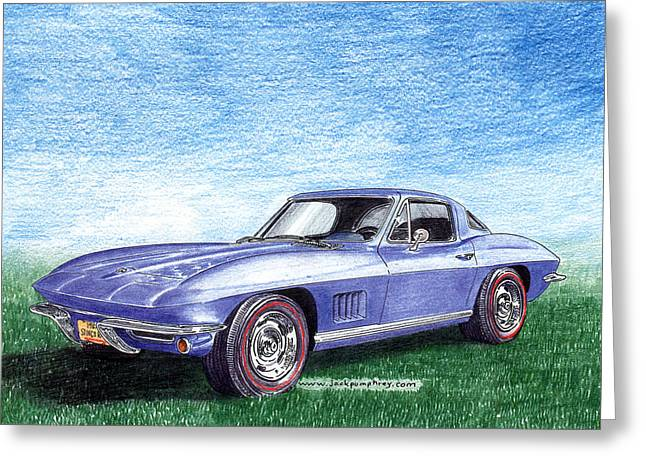 Stretching Drawings Greeting Cards - Tru Blu 1967 Corvette Stingray Greeting Card by Jack Pumphrey
