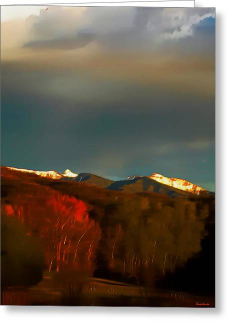 White Digital Art Greeting Cards - Truchas Peaks Evening Glow  Greeting Card by Anastasia  Ealy