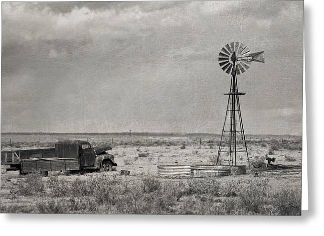 Julie Magers Soulen Greeting Cards - Truck and Windmill BW Greeting Card by Julie Magers Soulen