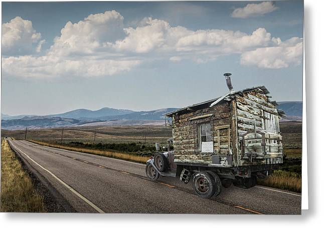Montana Landscapes Photographs Greeting Cards - Truck Motor Home traveling on the Road Greeting Card by Randall Nyhof