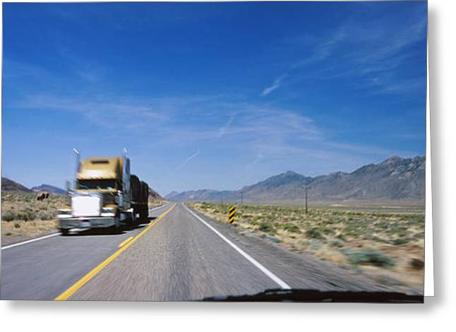 Double Yellow Lines Greeting Cards - Truck On A Highway Viewed Greeting Card by Panoramic Images