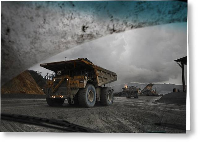 Mine Pit Greeting Cards - Trucks Hauling Waste Rock At Batu Greeting Card by Randy Olson