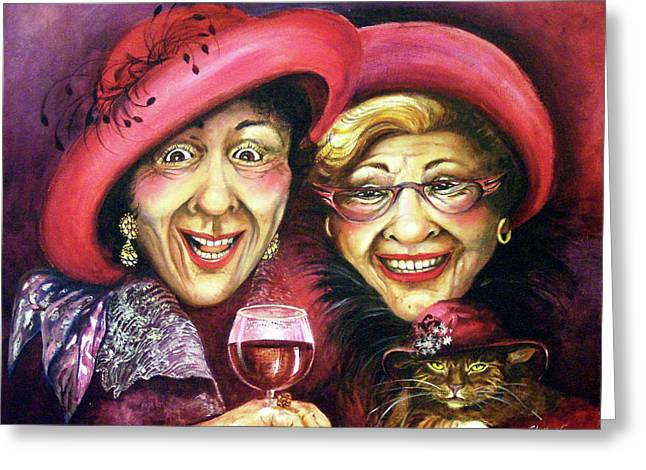 Red Cat Wine Greeting Cards - Trudy and Grace Play Dressup Greeting Card by Shelly Wilkerson
