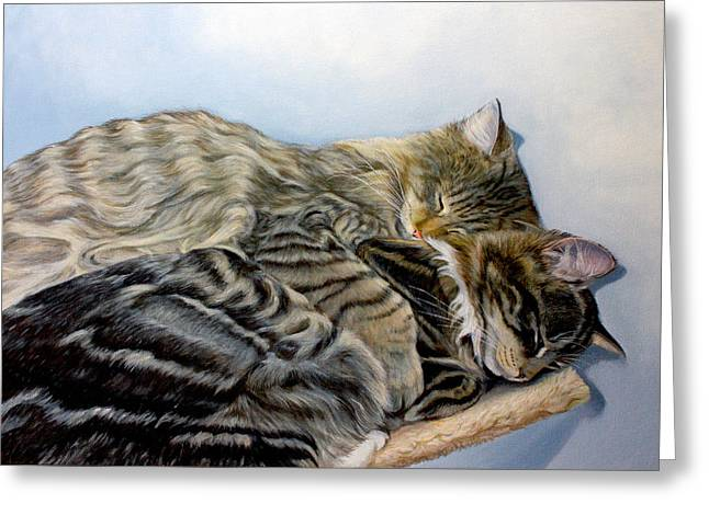 Cute Kitten Paintings Greeting Cards - True Love Greeting Card by Susana Falconi