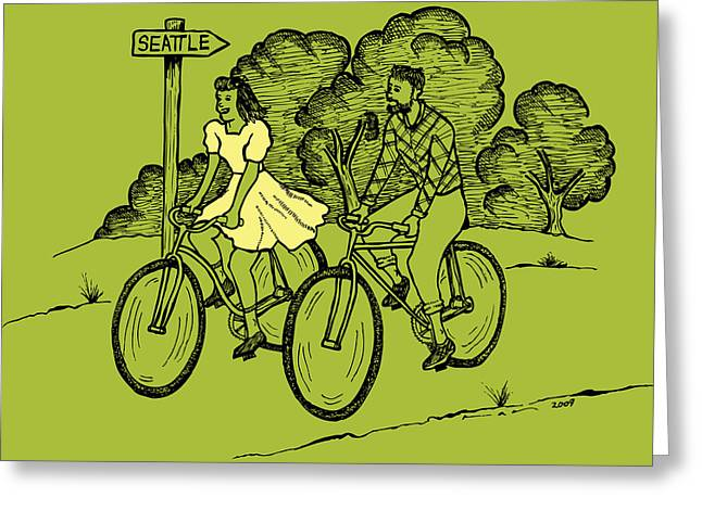 Color Green Drawings Greeting Cards - True Romance Bike Ride Greeting Card by Karl Addison